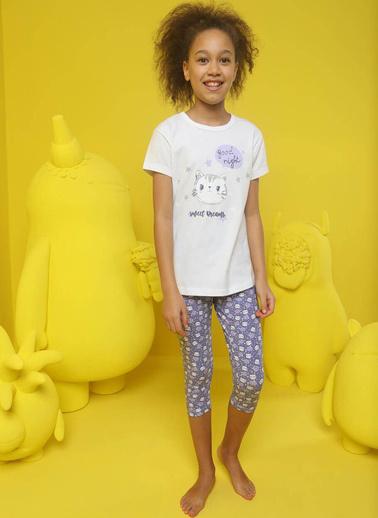 Donella Kedi Baskılı Kız Çocuk Kapri Pijama Takımı Krem